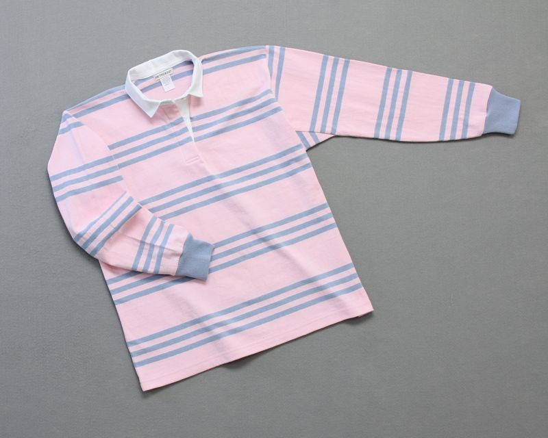 Wms track stripe rugby pink blue for Pink and purple striped rugby shirt